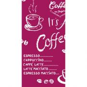 Linclass-Serviette COFFEE TIME BORDEAUX 33 x 33 cm 1/8-Falz