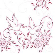 Serviette aus Linclass HOCHZEIT ROSA-BORDEAUX  40 x 40 cm