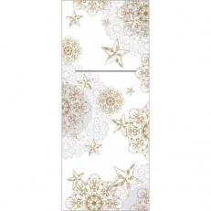 Bestecktaschen STERNENSCHEIN grau-gold aus Linclass; 600 Stück im Karton