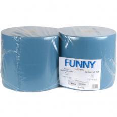 Industriepapierrolle blau 3-lagig, Recyclingpapier, geprägt, 26 cm