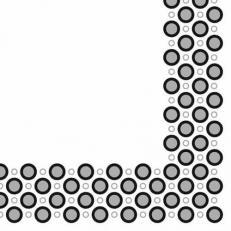 Linclass-Serviette ART-DECO-CIRCLES SILBER-SCHWARZ  40 x 40 cm; 600 Stück im Karton