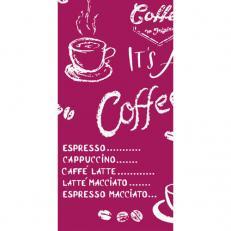 Linclass-Serviette COFFEE TIME BORDEAUX 33 x 33 cm 1/8-Falz