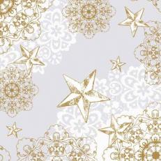 Linclass-Serviette STERNENSCHEIN grau-gold 48 x 48 cm; 500 Stück im Karton