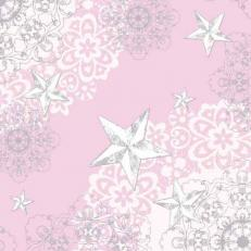 Linclass-Serviette STERNENSCHEIN rose-silber 48 x 48 cm; 500 Stück im Karton