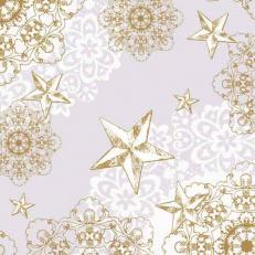 Linclass-Serviette STERNENSCHEIN grau-gold 40 x 40 cm; 600 Stück im Karton