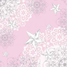 Linclass-Serviette STERNENSCHEIN rose-silber 40 x 40 cm; 600 Stück im Karton