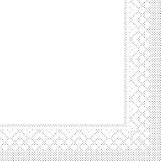 Zellstoff-Serviette weiß 40 x 40 cm; 3-lagig; 1/4 Falz