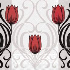 Tissue Deluxe Serviette ANNIKA ROT-SCHWARZ 40 x 40 cm; 600 Stück im Karton