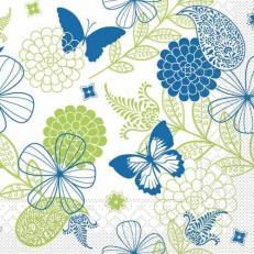 Tissue Serviette NATALIE BLAU-GRÜN 40 x 40 cm; 1200 Stück im Karton