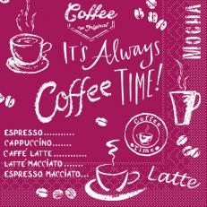 Tissue-Serviette COFFEE TIME BORDEAUX 33 x 33 cm