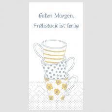 Tissue-Serviette FRÜHSTÜCK IST FERTIG GELB-GRAU 1/8-Falz 33 x 33 cm