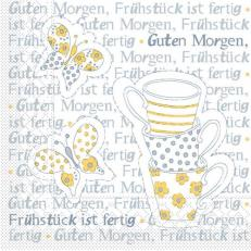 Tissue-Serviette FRÜHSTÜCK IST FERTIG GELB-GRAU 25x25 cm