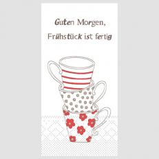 Tissue-Serviette FRÜHSTÜCK IST FERTIG ROT-BRAUN 1/8-Falz 33 x 33 cm