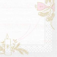 Tissue-Serviette KOMMUNION / KONFIRMATION HOLZ ROSA-GRAU 33 x 33 cm