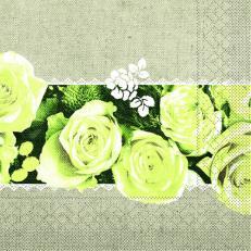 Tissue-Serviette LOVELY ROSES GELB 33 x 33 cm