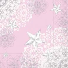Tissue-Serviette STERNENSCHEIN rose-silber 40x40 cm; 1200 Stück im Karton