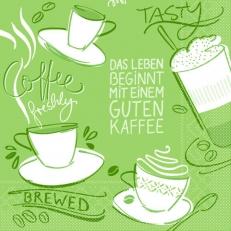 Tissue-Serviette TASTY COFFEE OLIV 33 x 33 cm