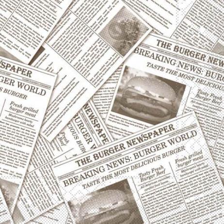 Burgerpapier NEWSPAPER GRAU 30 x 30 cm