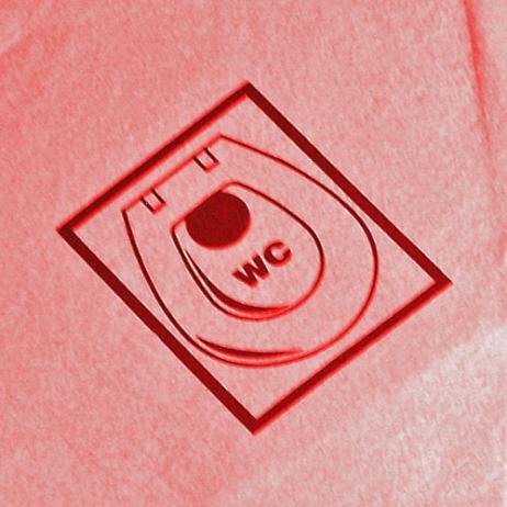 """Feuchtwischtuch rot mit Piktogramm """"WC""""; 10 Stk. im Pack"""