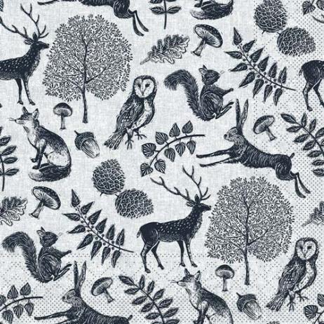 Tissue-Serviette FOREST GRAU-SCHWARZ 33 x 33 cm