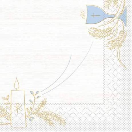 Tissue-Serviette KOMMUNION / KONFIRMATION HOLZ BLAU-GRAU 33 x 33 cm